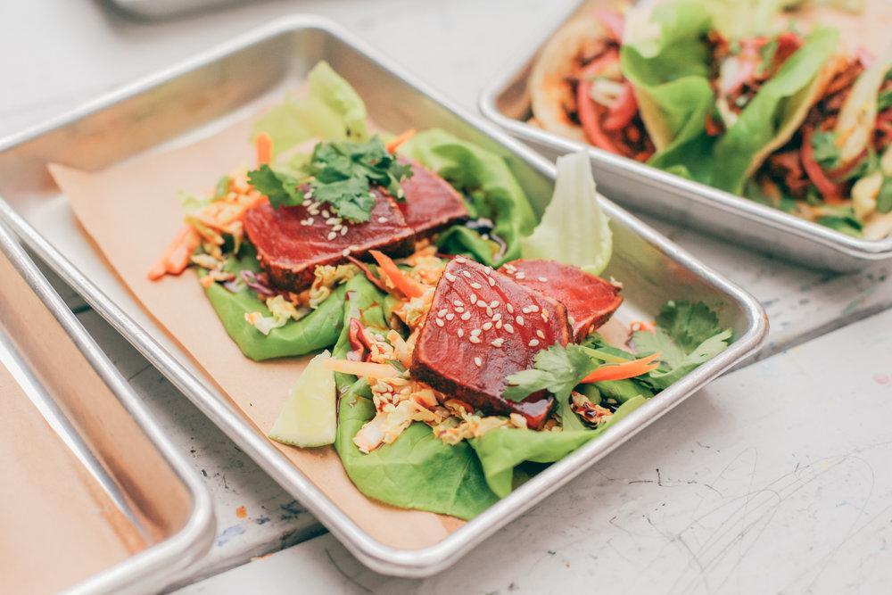 A favorite: Lettuce-wrapped ancho ahi tuna taco