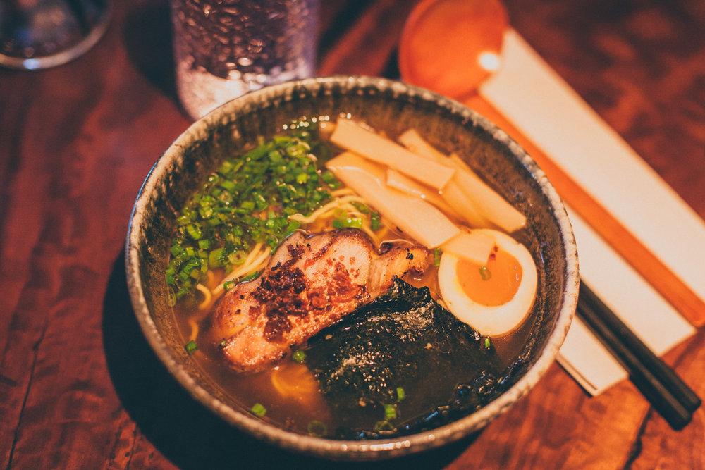 Shoyu Ramen: Chicken broth, chasyu asado, ajitama, menma, scallion, nori