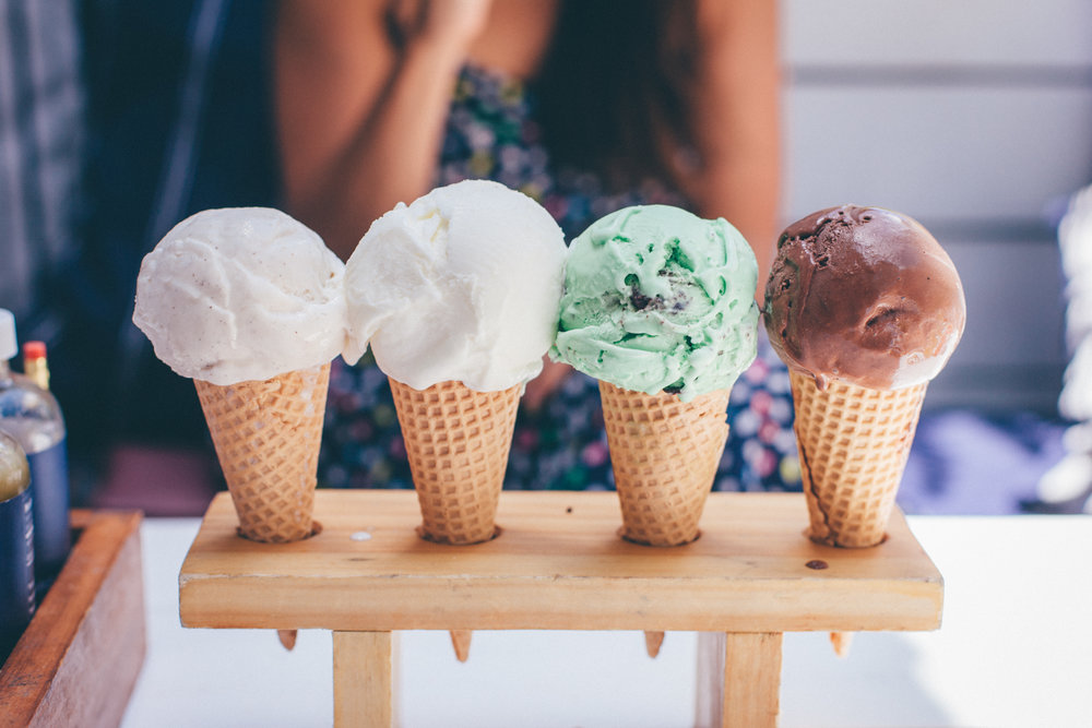 Gelato: Vanilla, coconut, mint chocolate chip and chocolate