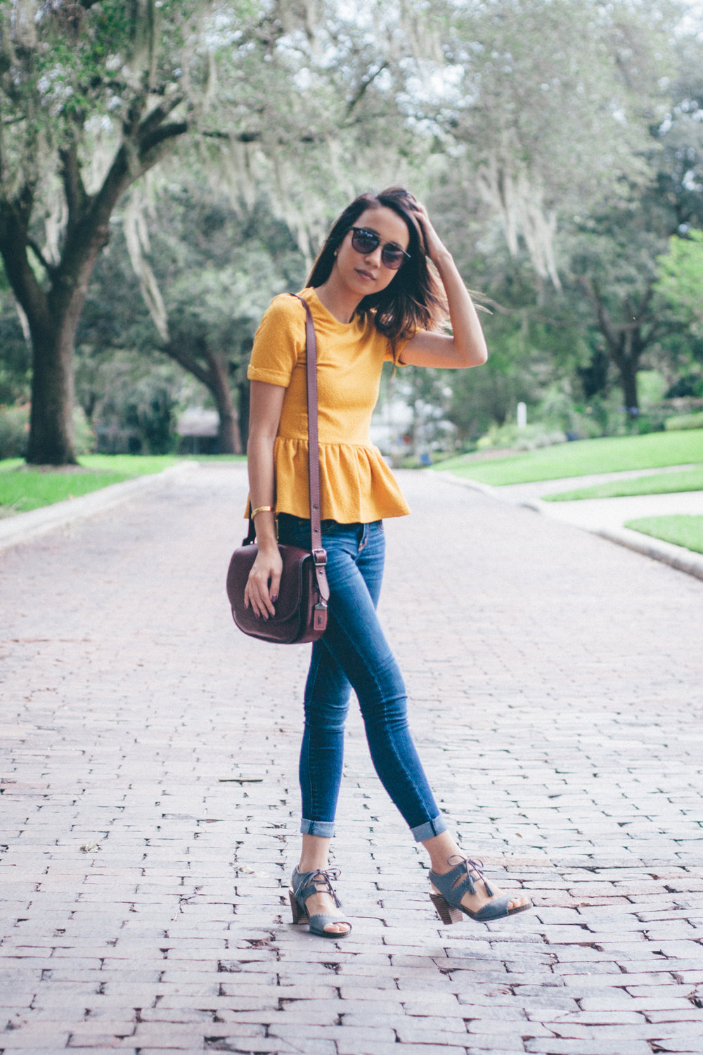 This Jenn Girl - Shein Yellow Peplum 2