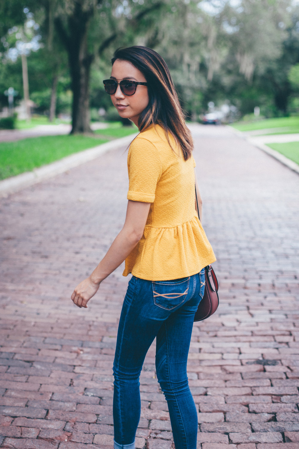 This Jenn Girl - Shein Yellow Peplum 3