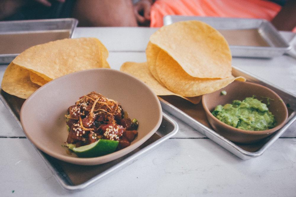 Tuna Poke and Guac + Chips