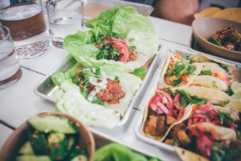 Lettuce-Wrapped Short Rib & Spicy Chorizo Tacos