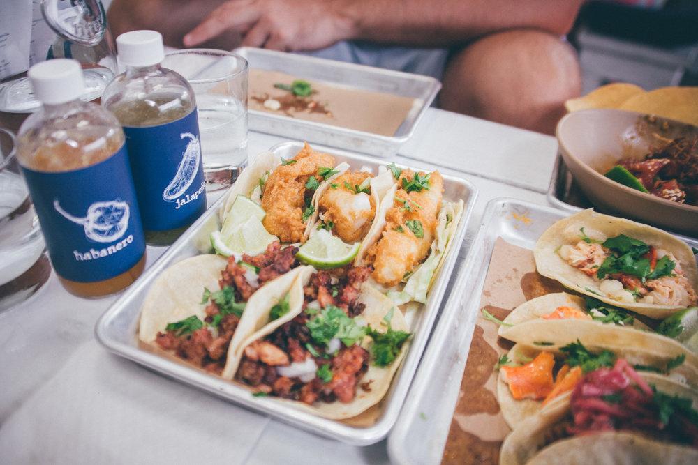 Baja Fish and Spicy Chorizo Tacos