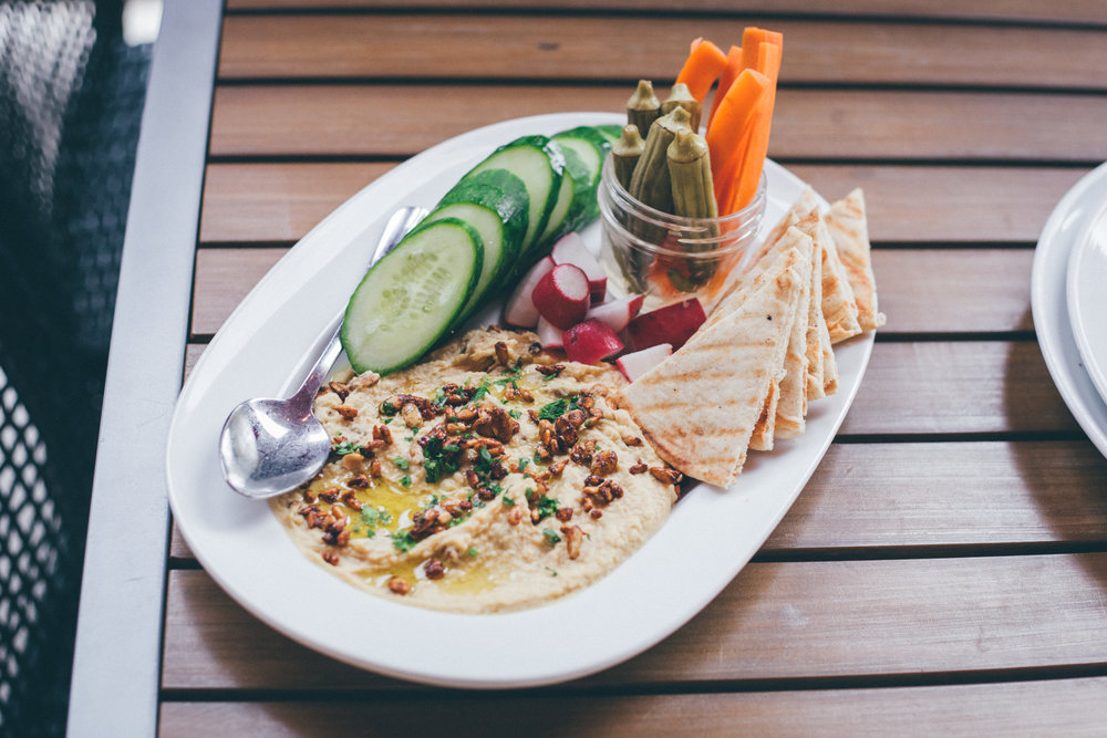 Marlow's Famous Hummus: Grilled, Toasty Pita Points, Crisp, Fresh Veggies, Pickled Okra, Olive Oil, Spiced Pumpkin & Sunflower Seeds