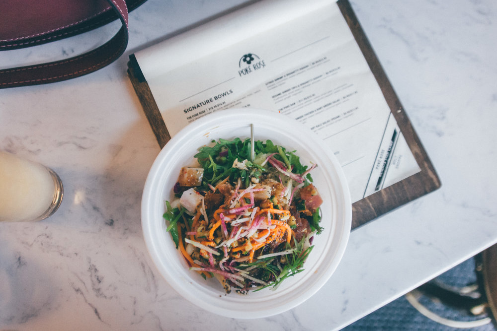 The Poke Raw at Poke Rose: Tamarind-curry tuna, salmon, cobia, snow peas, mushrooms, cabbage, cucumber kimchi, kelp noodles, radish, chia seeds, sesame-ginger chicken & baby greens salad