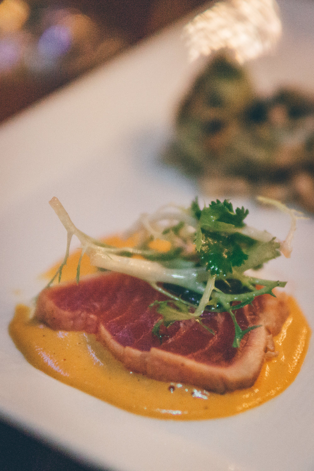 Ahi Tuna Tataki: Cold-Pressed Olive Oil, Radish & Herb Salad, Roasted Peanut Romesco