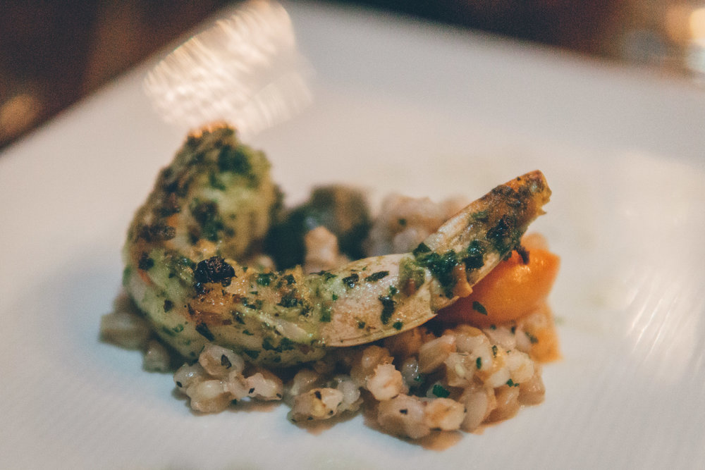Shrimp & Grains: Pistachio Pesto, Warm Farro Salad, Baby Tomatoes & Sicilian Olives