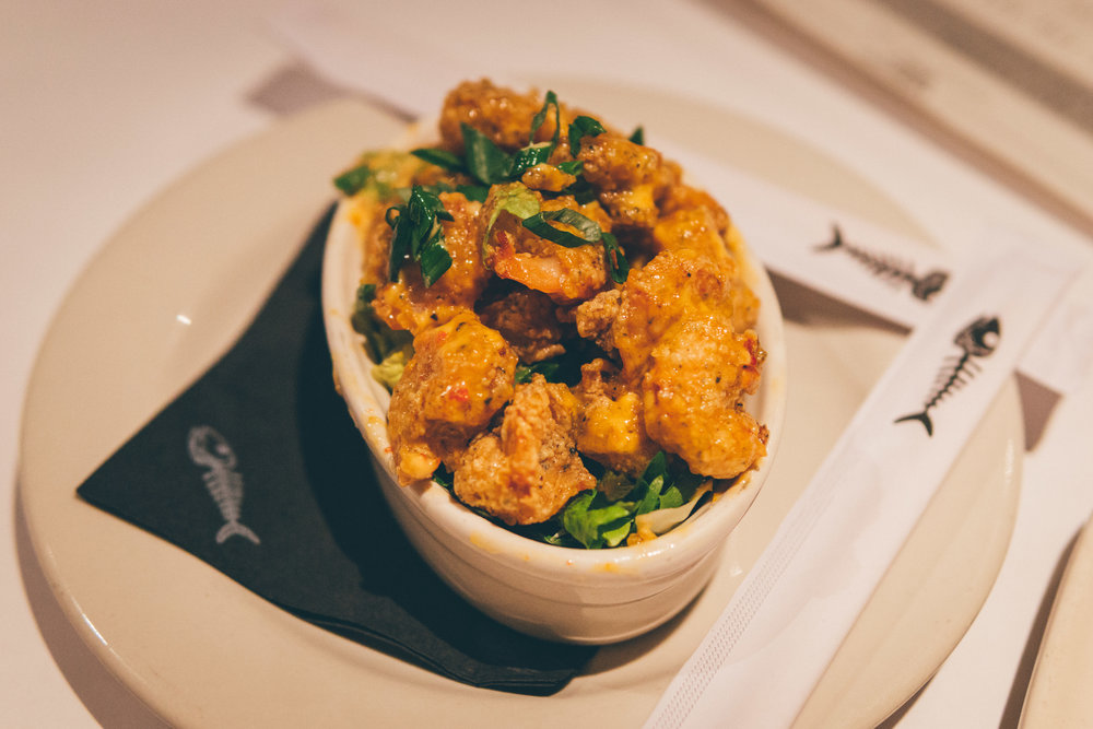 Bang Bang Shrimp: Crispy shrimp tossed in a creamy, spicy sauce