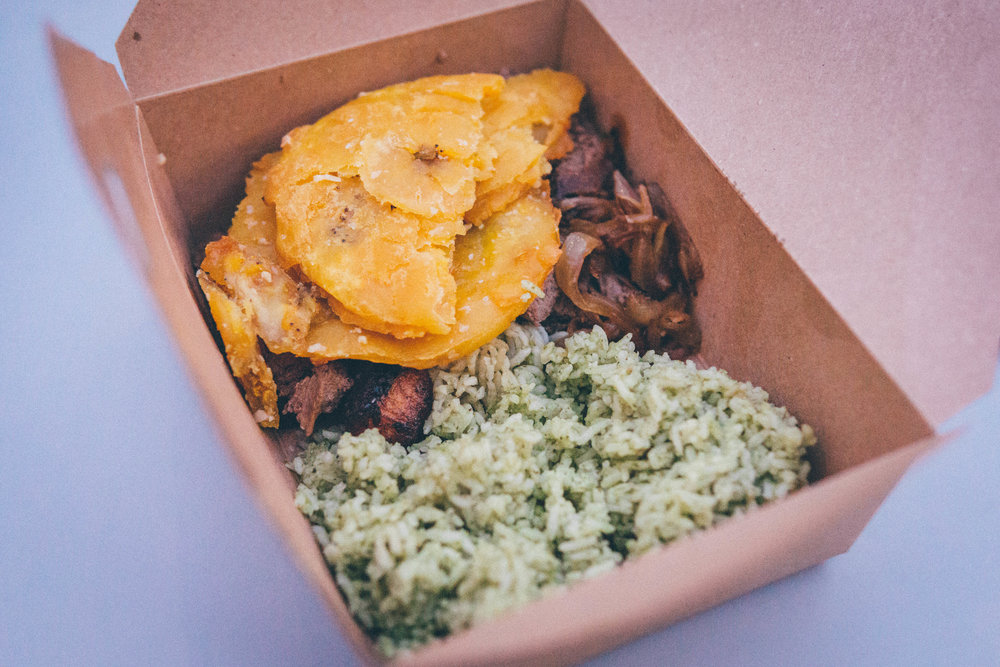 Palomilla Steak Cuban Bowl with Cilantro White Rice, Garlic Tostones & Sweet Plantains from Hemingway's at Heights Public Market