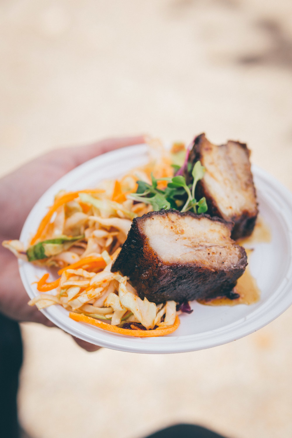 28) Coke Fusion: Minute Maid Apple Glazed Pork Belly with Kimchi Slaw