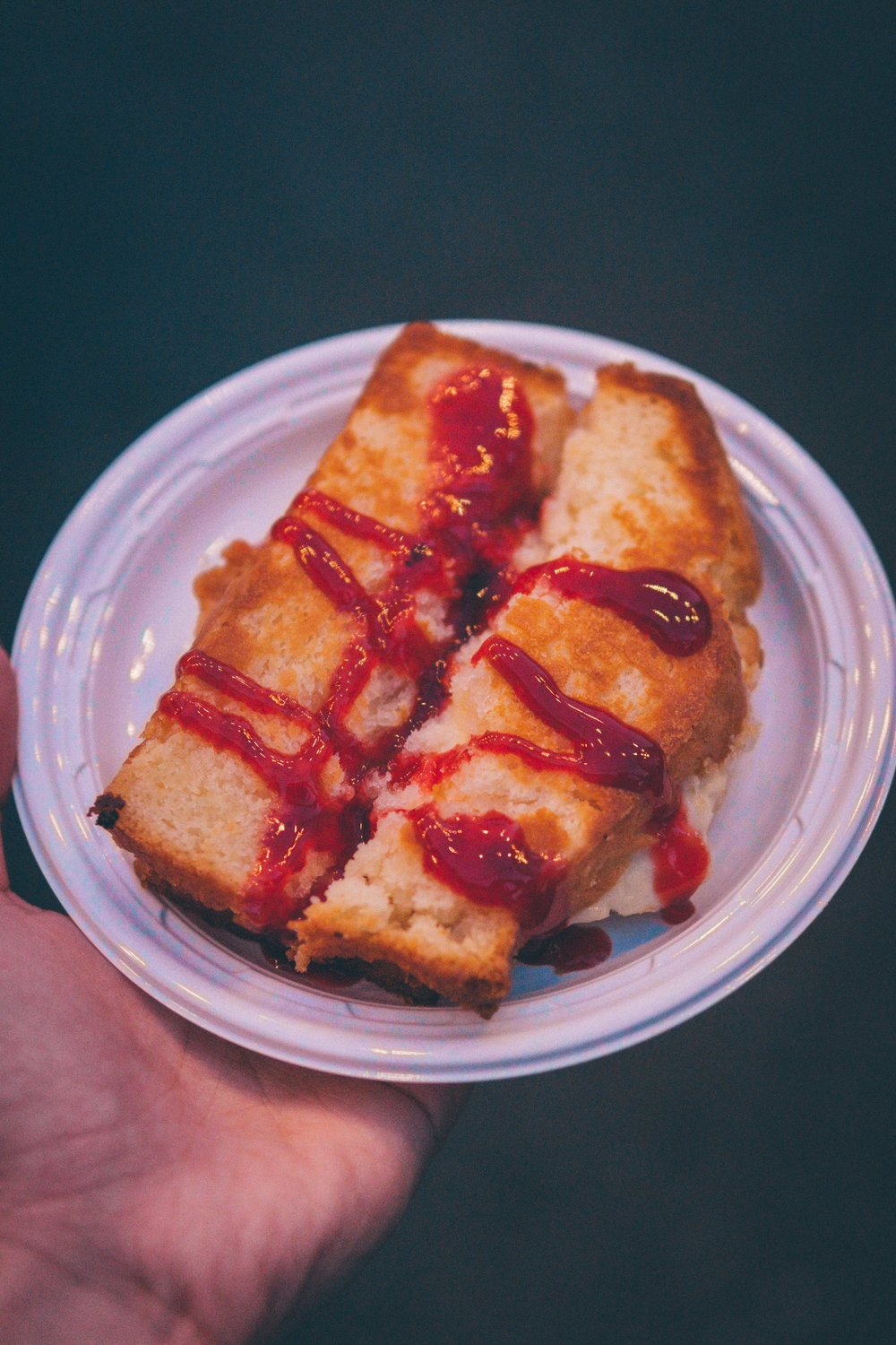 10) Gourmet Lodge: Griddled Cheesecake Sandwich with Raspberry Drizzle