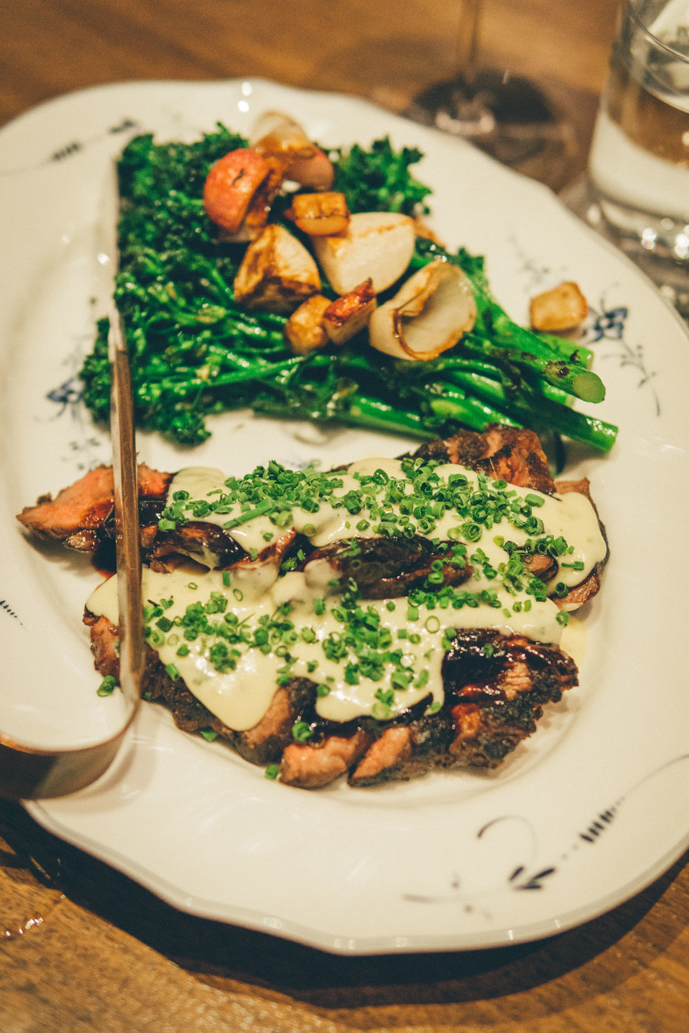 Ribeye-Cap - broccolini, roasted shallots, bearnaise, demi