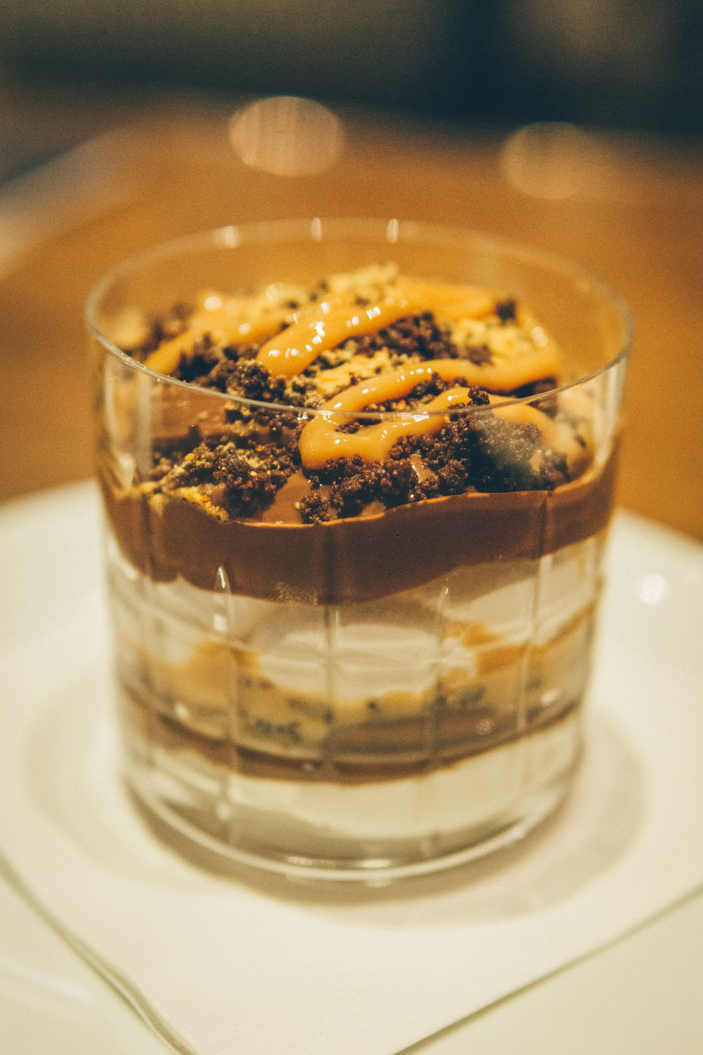 Chocolate Budino - dulce de leche, soft cream, chocolate soil
