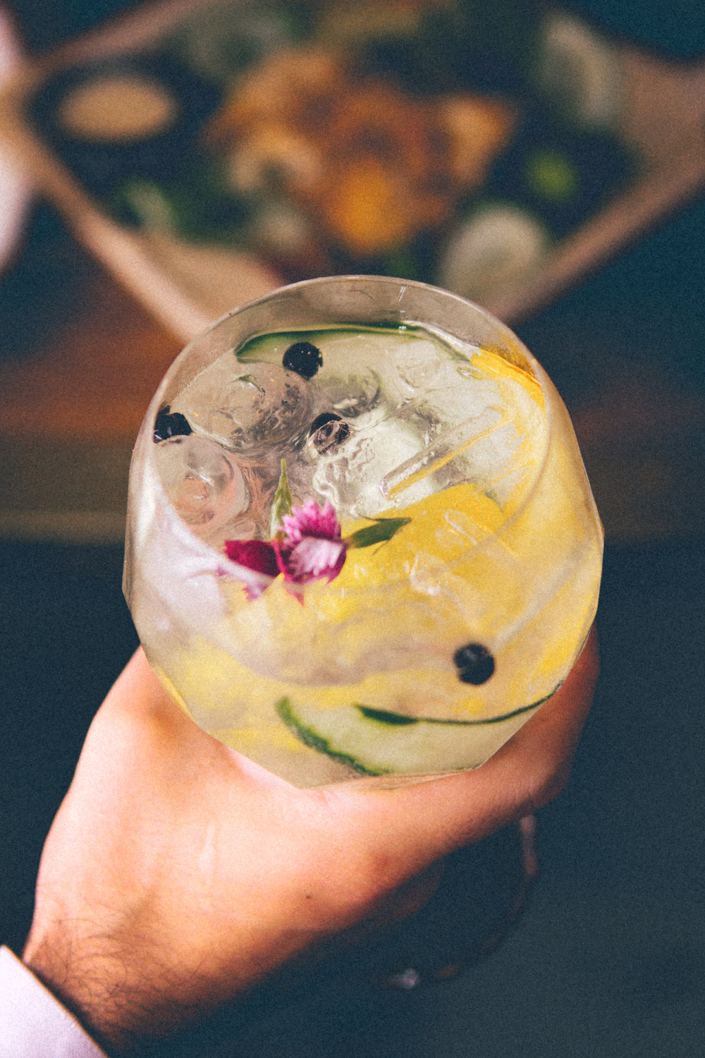 FIn & Tonic | A Spanish style gin and tonic crafted with Hendricks Gin, Thatcher's Elderflower, citrus peel, juniper berries, cucumber and fresh flowers