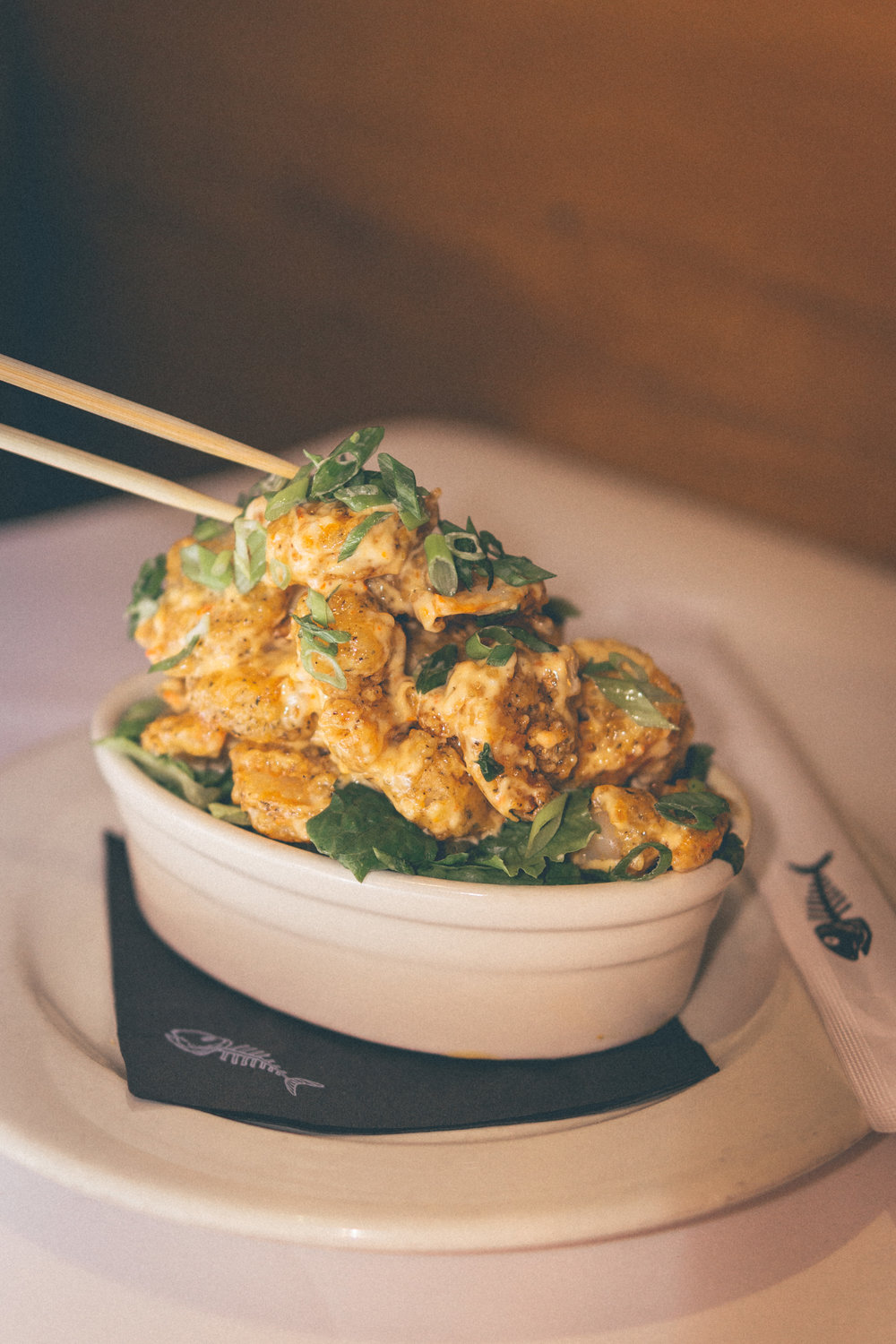 Bang Bang Shrimp: Crispy shrimp, tossed in a creamy, spicy Bang Bang sauce.