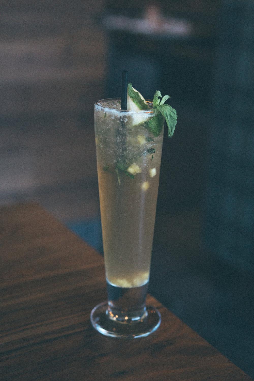 Mango Apple Mint Tea: Mango, apple juice, mint, simple syrup, ginger beer, lime, sweet tea