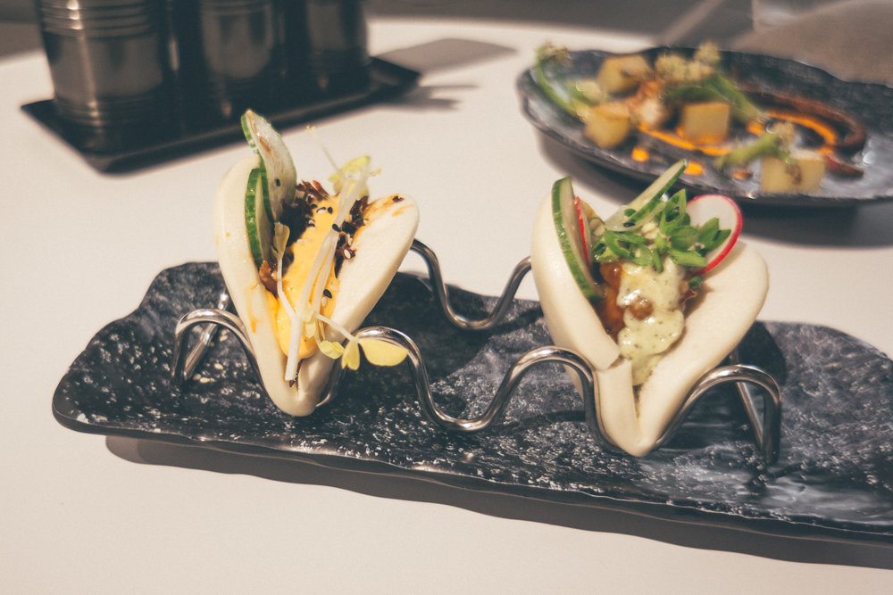 Duck Confit & Firecracker Shrimp Bao Buns