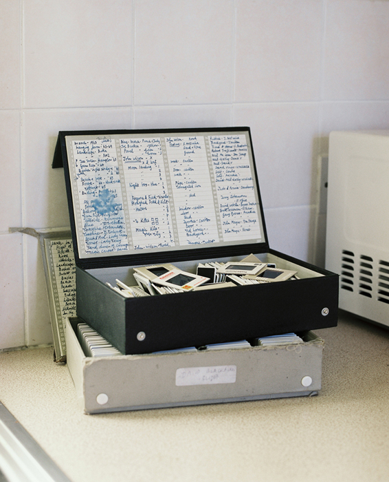 Boxes of slides from lecturing in Australia, 2012