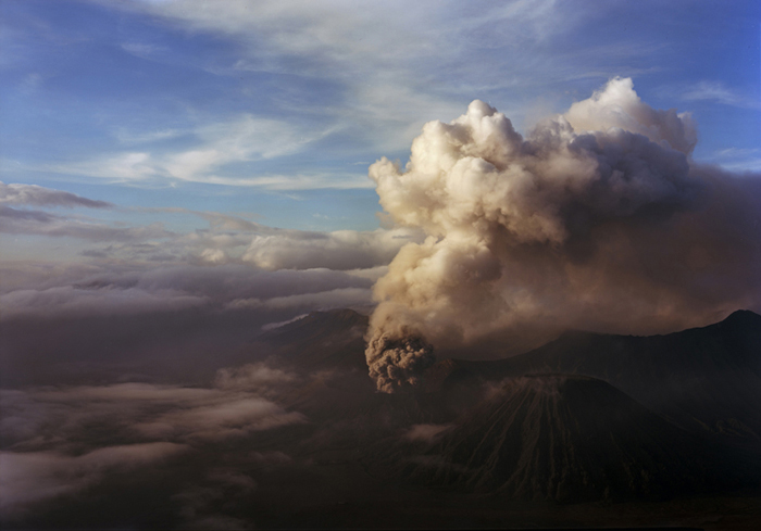 Mt. Bromo Erupting from Above, E. Java, Indonesia, 2011