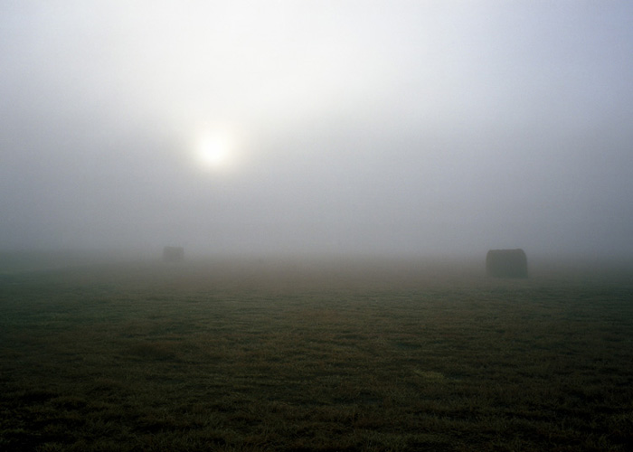 Hay Bales & Fog, Oklahoma