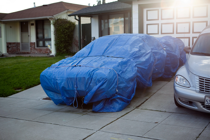 Blue Tarp Car Cover