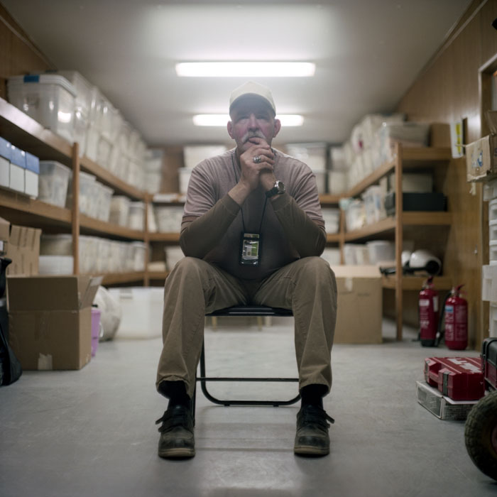 Rick Watching TV in the Storage Room