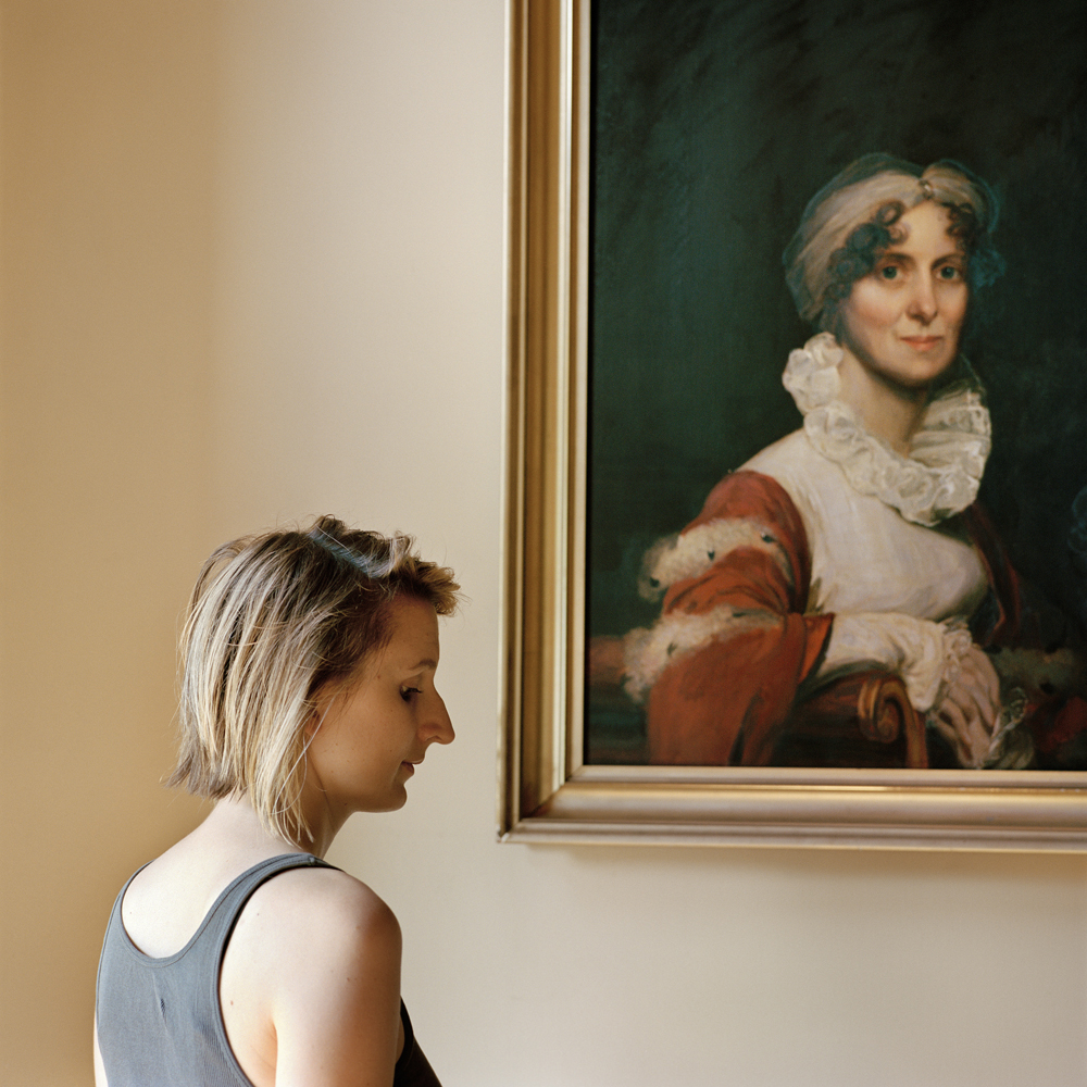 Edith, with a portrait of her ancestor (Milton, MA) 2013