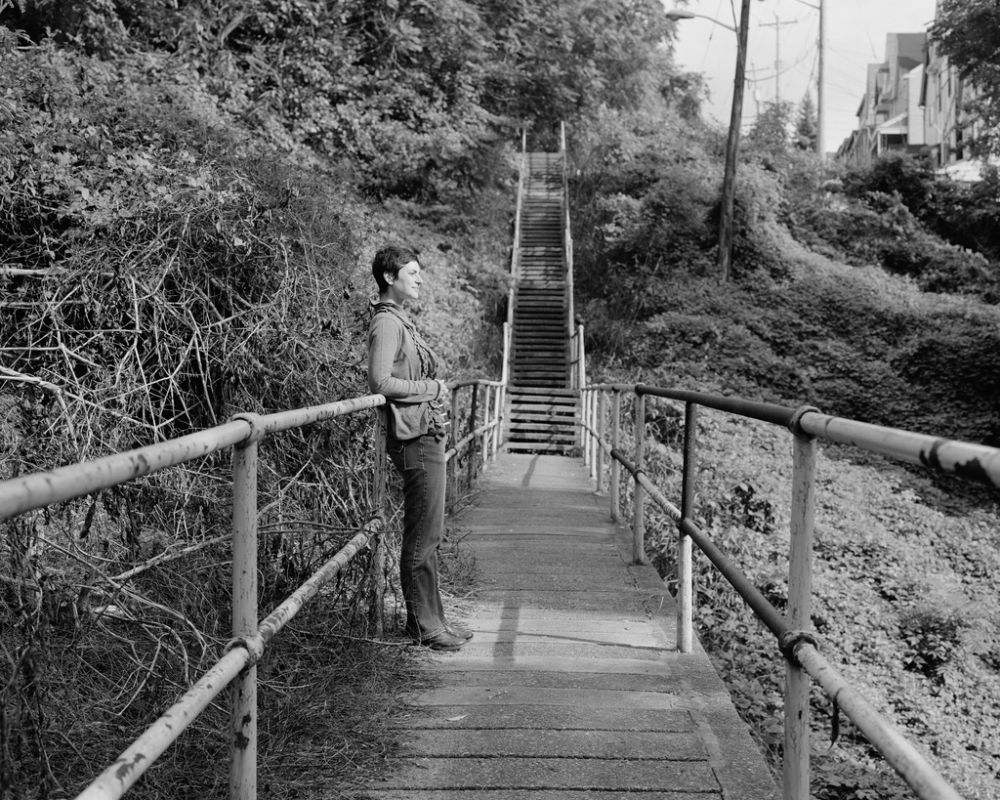 Lauren on the Bates Street stairs, Oakland, Pittsburgh, PA; 2011