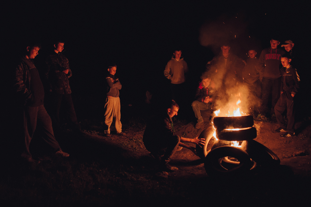In the northern villages of Transnistria there is still the tradition of burning fires on top of the hill on Easter night. But for many years in a row instead of firewood and thatch people have been using old automobile tires. This tradition has roots in the pagan beliefs where the fire symbolizes purification. But now this is just an excuse for the youth to gather and drink some homemade wine.