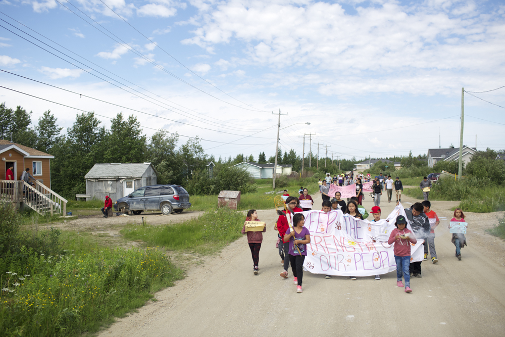 Youth Council Awareness Walk Children lead an Awareness Walk against drug dealing and bootlegging on Fourth Street in Fort Albany.