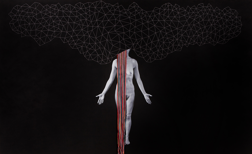 Mental Structures, 2016. Archival pigment print, gesso and cotton-hemp thread 60 x 100 inches, Unique