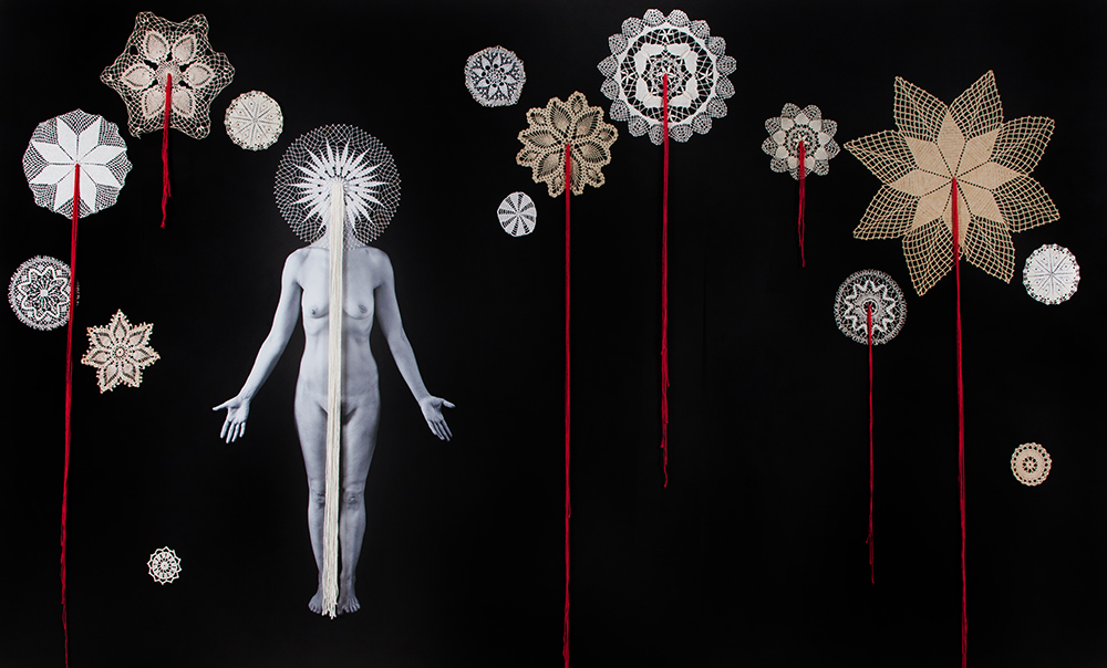 Universe . 2016 Archival pigment print, gesso, found objects and thread 60 x 100 inches, Unique