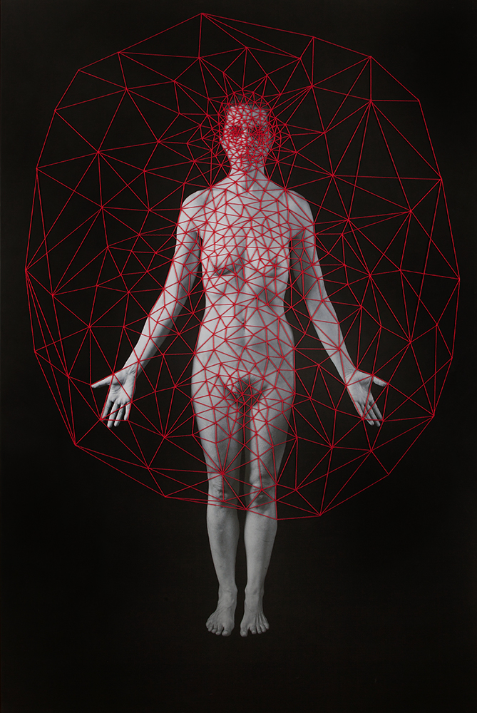 Red Net , 2015 Archival pigment print, gesso and cotton-hemp thread 82 x 55 inches, Unique