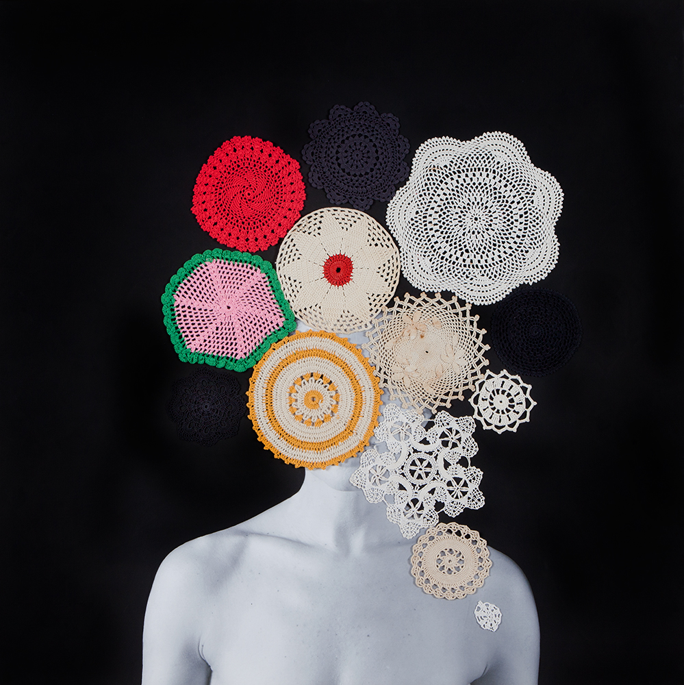 Untitled, 2016 Archival pigment print, gesso, found objects and thread 34 x 34  inches, Unique
