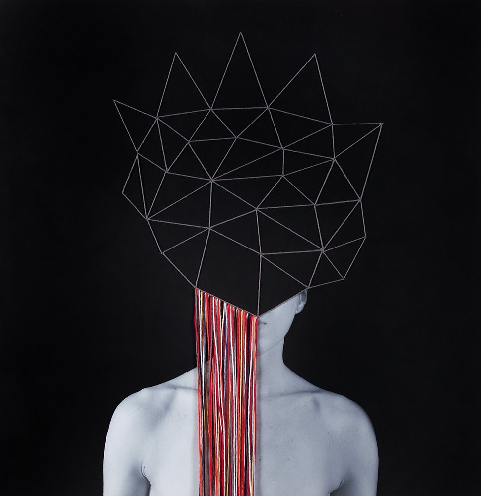 Structures of Thought, 2016 Archival pigment print, gesso and cotton-hemp thread 34 x 34  inches, Unique