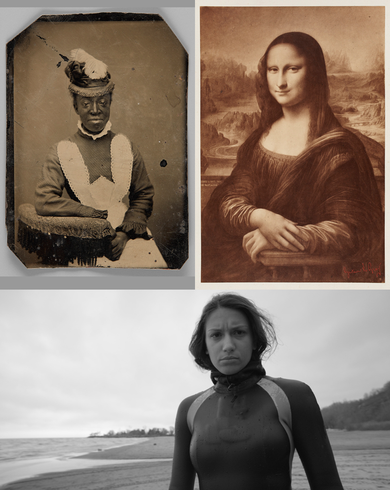Top left: Unknown. [Unidentified woman], 1870-1880. Tintype, 7.6 × 6.4 cm. Richard Bell Family Fonds, Brock University Archives. Courtesy Brock University Archives, Image © 2017 Art Gallery of Ontario;  Top right: Gustave Le Gray. Portrait of the Mona Lisa after a Drawing by Anne Millet from a painting by Leonardo da Vinci, 1849-1850. Albumen print, 28.5 × 19 cm. Art Gallery of Ontario. Gift of Dr. Ydessa Hendeles, courtesy of the Ydessa Hendeles Art Foundation, 2013.  AGO.114868Image © Art Gallery of Ontario;  Bottom: Mark Lewis, Things Seen, 2017. Single screen video, 6K transferred to 2K. Commissioned by the Art Gallery of Ontario, 2017; Film still courtesy and copyright of the artist and Daniel Faria Gallery, Toronto.