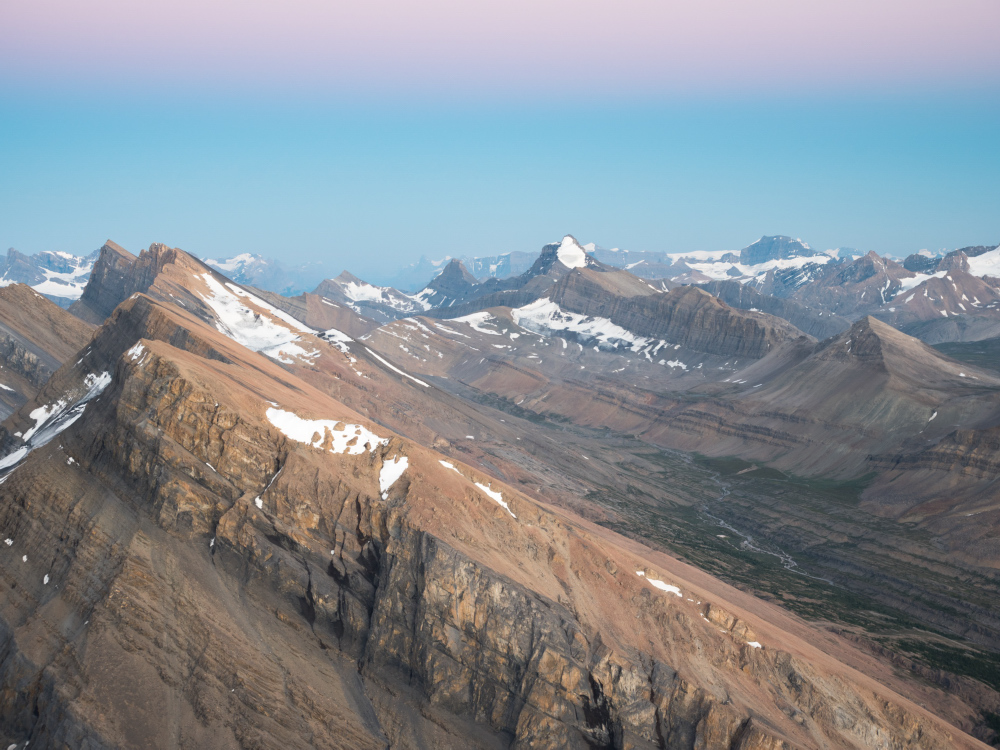 Sunwapta Peak Summit View at Twilight, Jasper National Park, Alberta