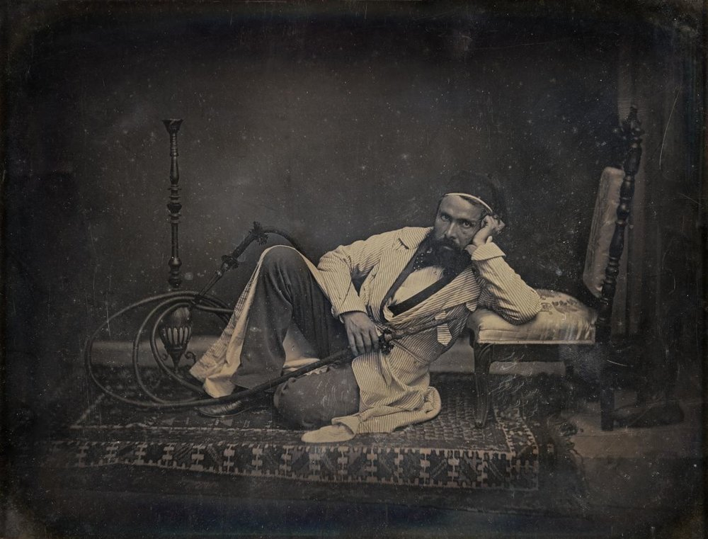 Camille Dolard, French (1810–1884).  Self-portrait as a hookah smoker , 1845. Daguerreotype, 8 1/2 × 6 1/2 inches. The Nelson-Atkins Museum of Art, Kansas City, Missouri. Gift of the Hall Family Foundation, 2017.44.5.