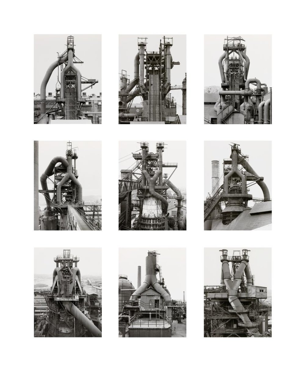 Bernd & Hilla Becher, German: Bernd Becher (1931–2007), Hilla Becher (1934–2015).  Blast Furnace, Frontal Views , 1979–86. Gelatin silver prints (printed before 1987), 60 3/8 × 48 3/8 × 1 inches. The Nelson-Atkins Museum of Art, Kansas City, Missouri. Gift of the Hall Family Foundation, 2016.75.13.1–9.