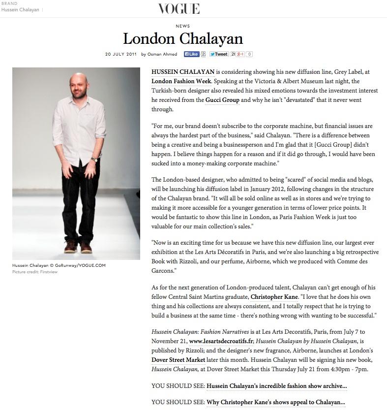 London Chalayan, VOGUE