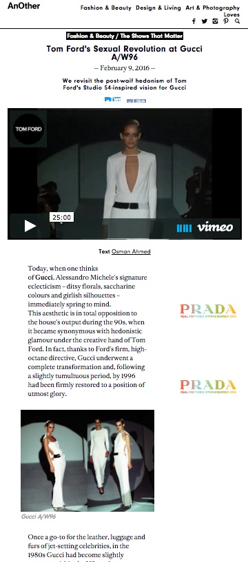 Tom Ford's Sexual Revolution at Gucci, AnOther