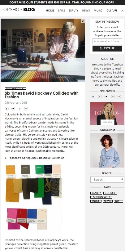 David Hockney, Topshop