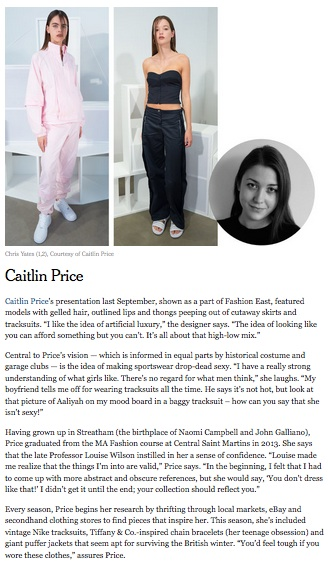 Caitlin Price, T: New York Times Style