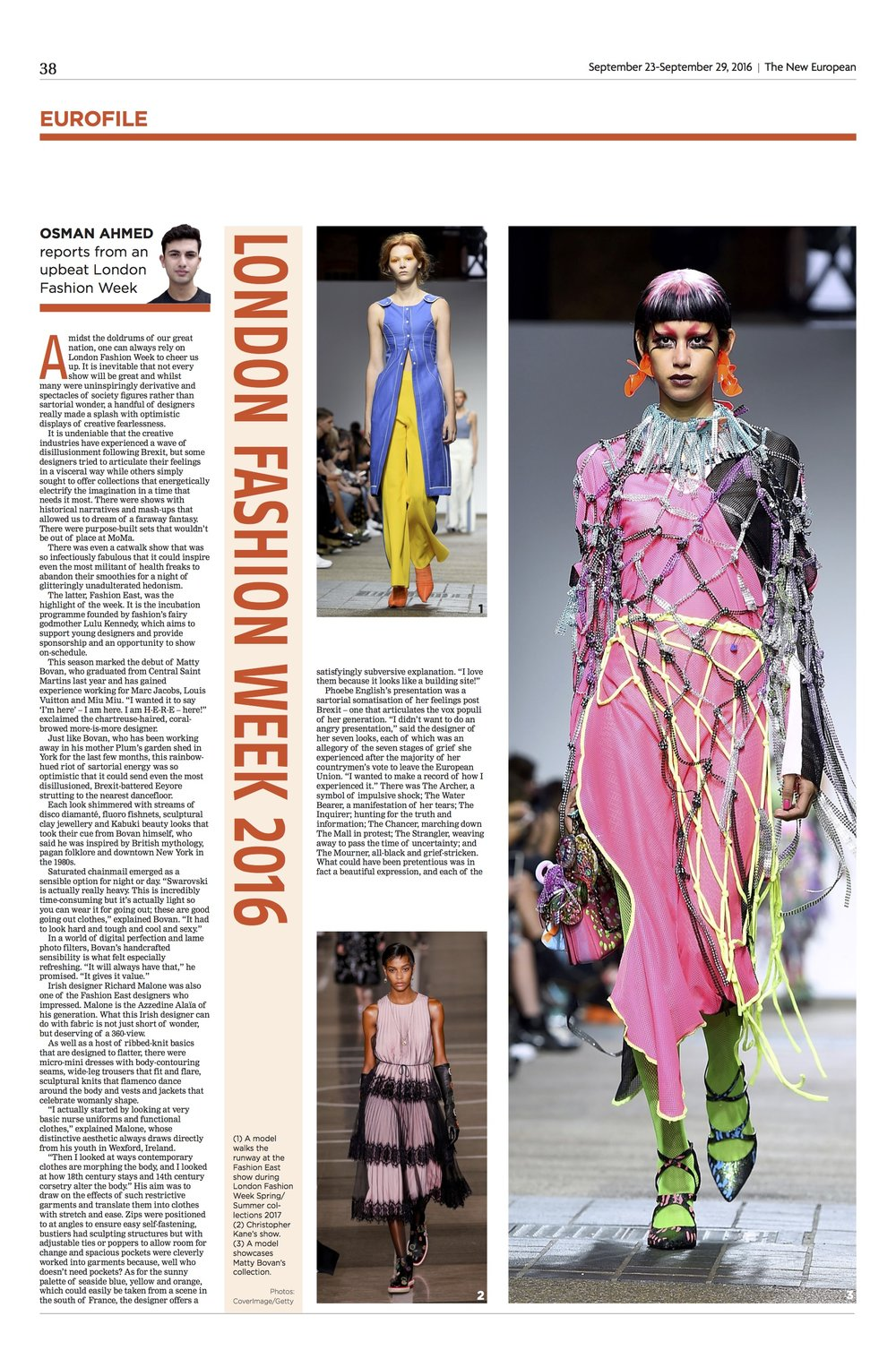 Fashion Column: LFW, The New European