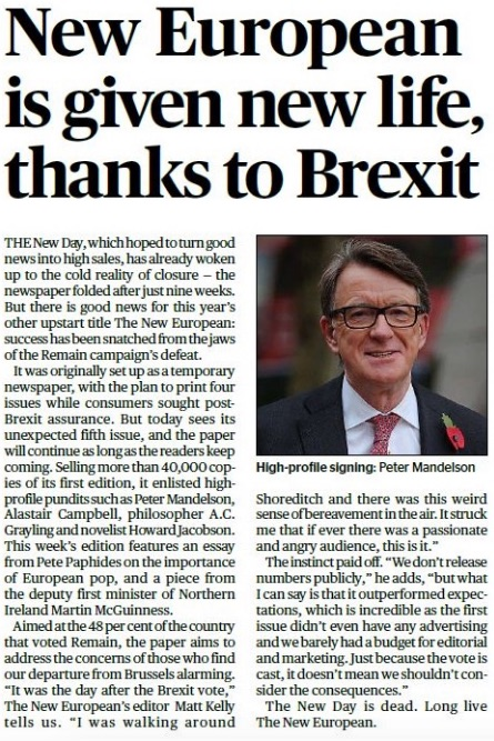 THE NEW EUROPEAN, EVENING STANDARD