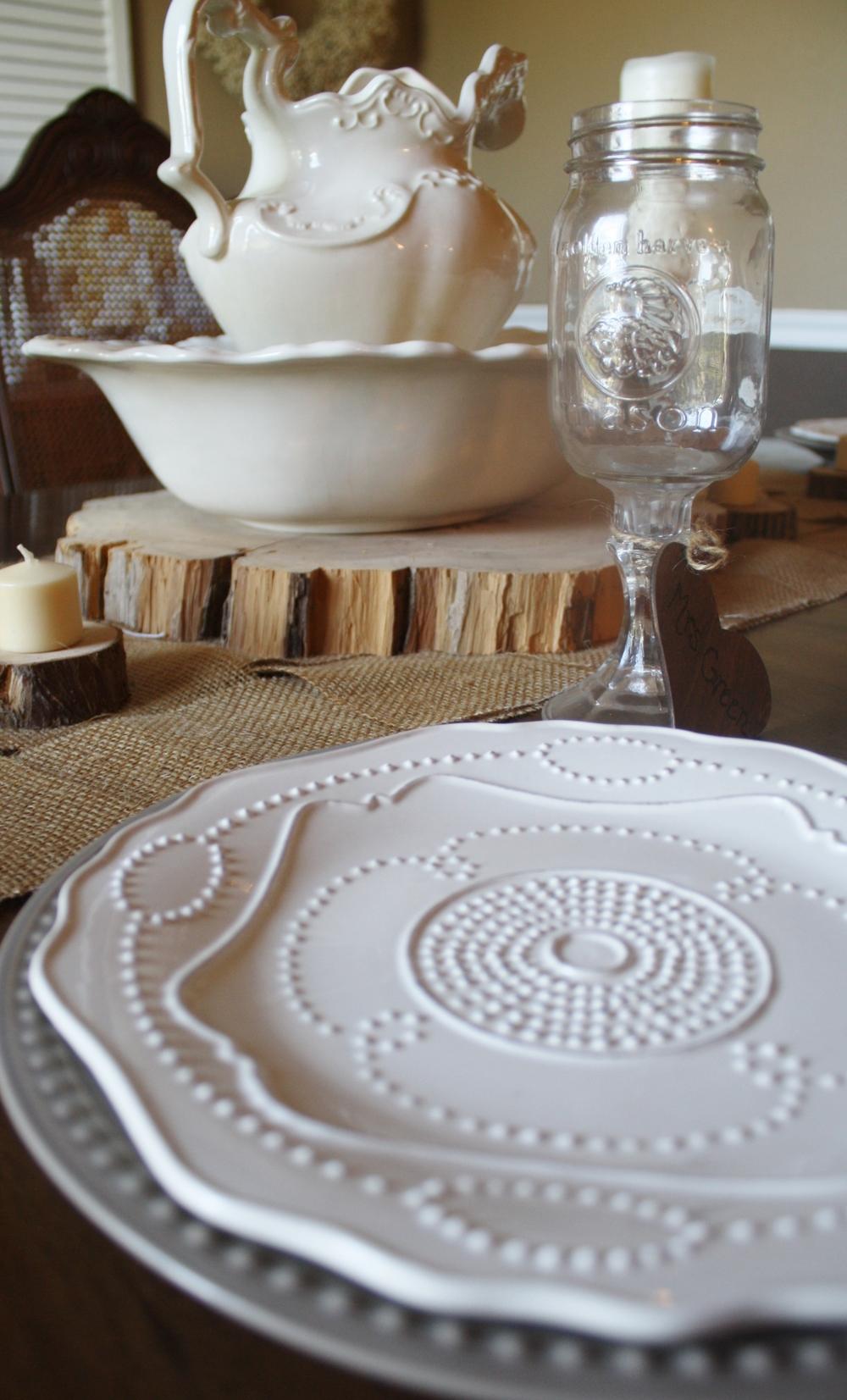 White beaded plate