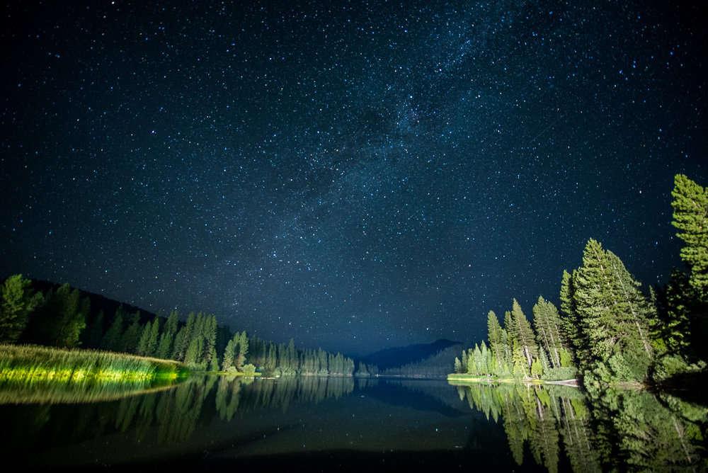 Hume Lake at night.