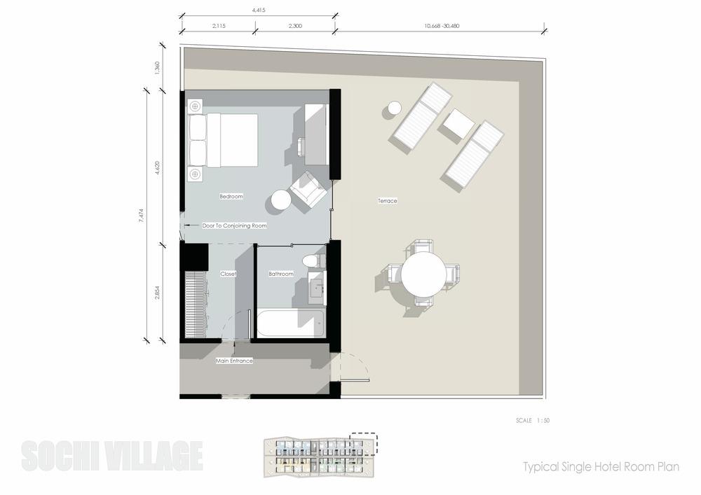 Sochi Olympic Village Typical Single Hotel Room Plan