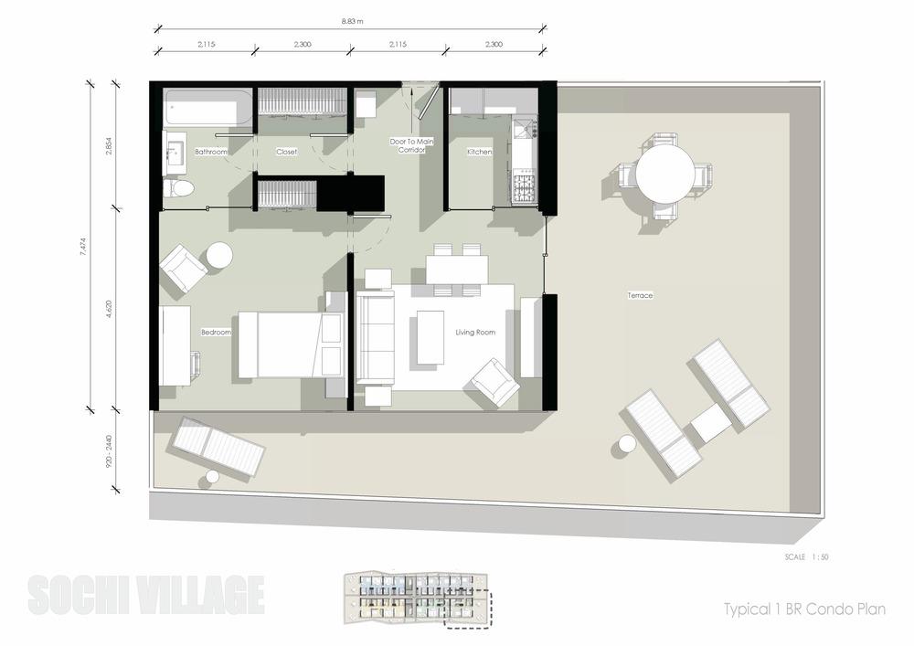 Sochi Olympic Village Typical 1 Bedroom Condo Plan